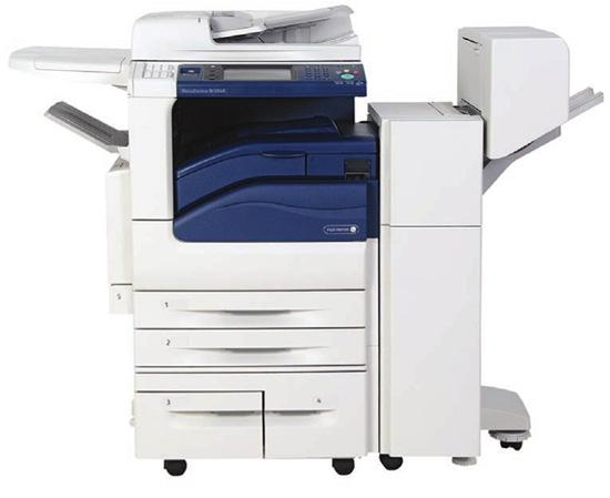 DocuCentre-IV 2060 với khay đựng giấy lớn và finisher.